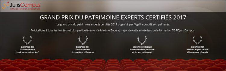 Bannière de l'AGEFI pour le Grand Prix du Patrimoine Experts Certifiés 2017