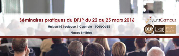 Bannière du séminaire DFJP 2016 à Toulouse - les places sont limitées