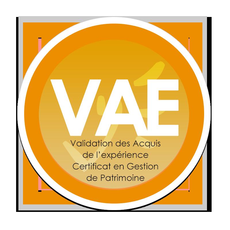 Logo de la Validation des Acquis de l'expérience (VAE) - Certificat en Gestion de Patrimoine