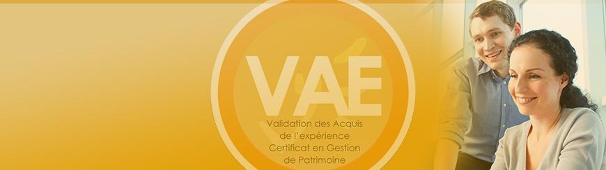 Bannière de la Validation des Acquis de l'expérience (VAE) - Certificat en Gestion de Patrimoine